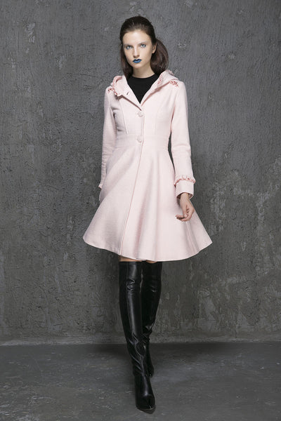 Winter Coats for Women-Winter Coats-Coats-Pink Wool Coat-Woman Coat-Pink Coat-Wool Coat-Hooded Coat-Winter Coat Woman-Winter Coat-Coat-1352