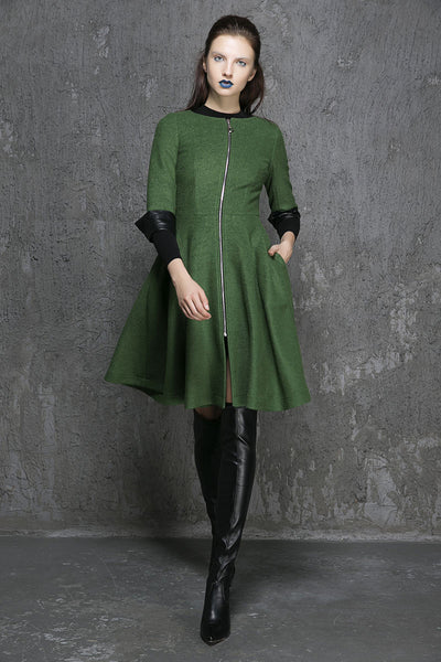 Green wool coat winter women coat (1353)