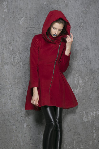 Wine red wool coat winter women coat (1355)