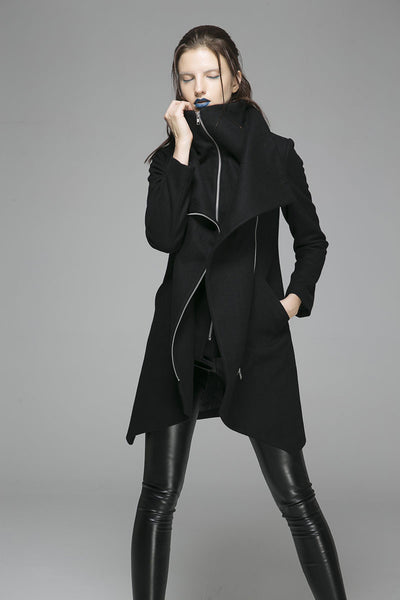 Winter Coat Zipper Jacket Women Wool Coat in Color Black(1363)
