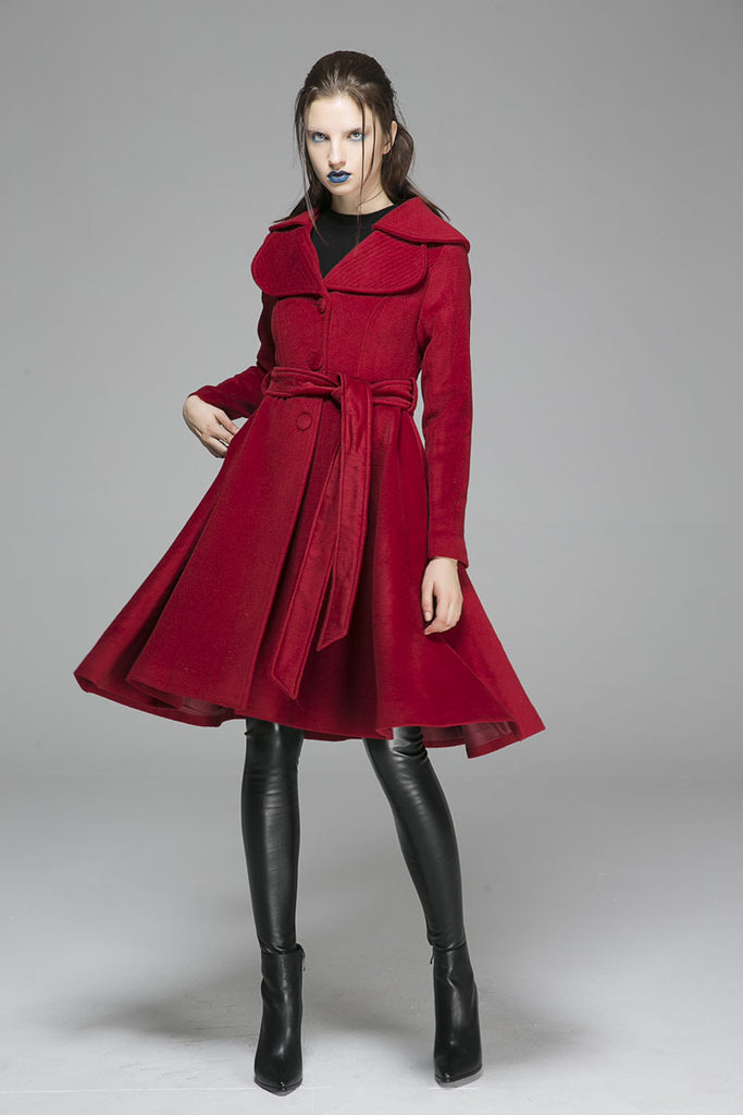 Winter wool coat red jacket midi dress coat(1366)
