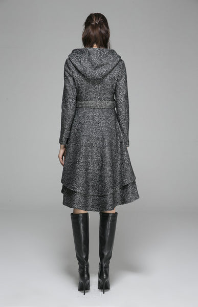 Short Gray Wool Coat - Winter Wool Fitted Jacket Buttoned Hooded (1368)