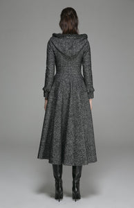 Hooded maxi wool dress coat with ruffle detail 1369#
