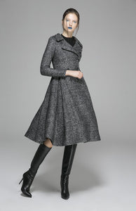 Womens Grey Wool Coat Wool Jacket Winter Coat 1373#