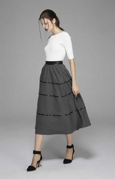Winter wool skirt maxi skirt dark gray wool skirt (1376)