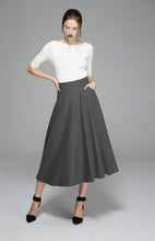 Load image into Gallery viewer, Black wool skirt maxi skirt women skirt 1088#