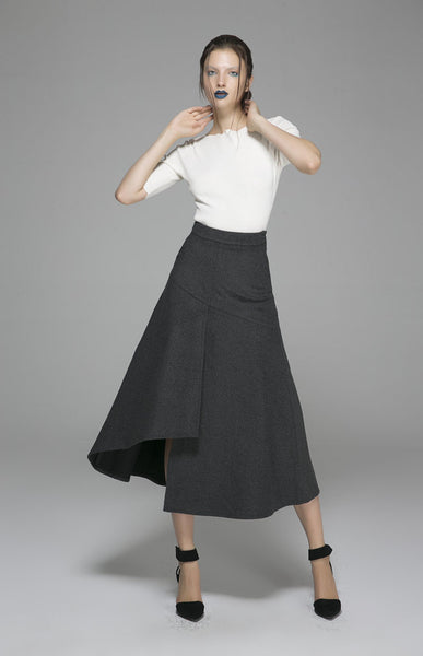 Dark gray wool skirt - womens wool skirt (1380)