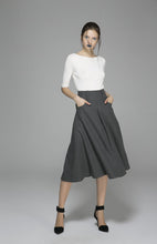 Load image into Gallery viewer, Winter wool skirt maxi skirt gray wool skirt (1383)