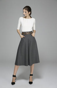 Winter wool skirt maxi skirt gray wool skirt (1383)