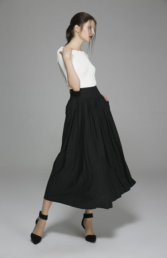 Black linen skirt maxi skirt pleated long skirt (1384)