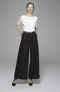 Black Maxi wool pants long Trousers 1389#