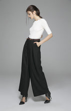 Load image into Gallery viewer, Black Maxi wool pants long Trousers 1389#