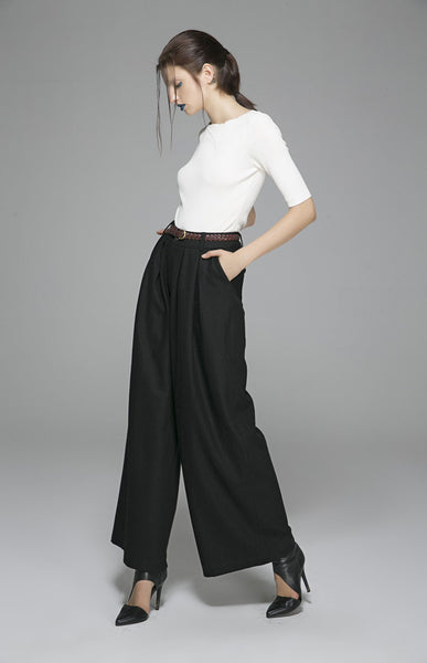 Black Maxi wool pants long Trousers (1389)