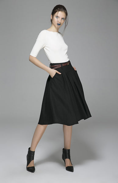 Black skirt woman wool skirt midi skirt custom made skirt 1390#