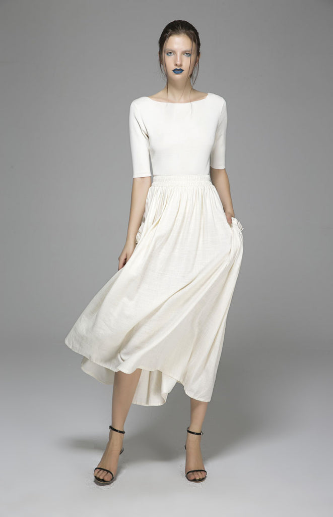 Maxi linen skirt women summer long skirt prom skirt (1391)