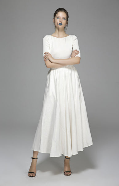 Maxi linen skirt women summer long skirt prom skirt (1392)
