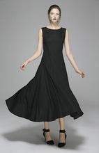 Load image into Gallery viewer, Long Black Linen Dress Women Maxi Dress Sleeveless Prom Dress(1395)