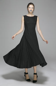 Long Black Linen Dress Women Maxi Dress Sleeveless Prom Dress(1395)