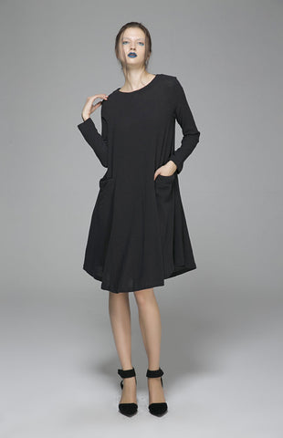 Black linen dress midi dress shirt dress 1399#