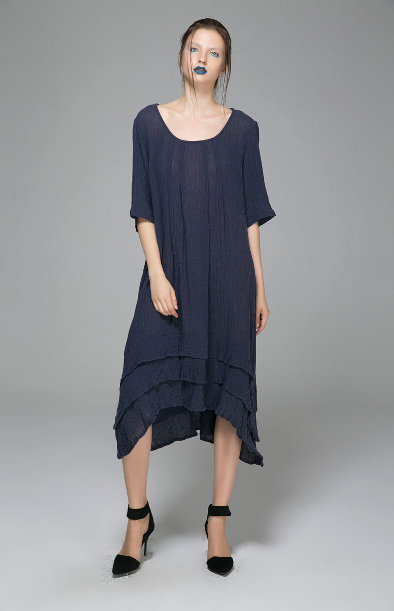 Irregular hem dress with round neck and five minute sleeve 1400