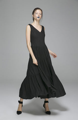 Black linen dress prom dress wedding dress women dress (1404)