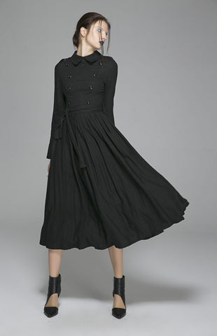 Black linen dress woman long sleeve dress custom made day dress 1405#