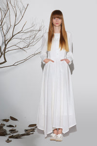 Maxi dress white linen dress woman's long sleeve dress custom made long dress (1164)