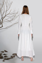 Load image into Gallery viewer, Maxi dress white linen dress woman's long sleeve dress custom made long dress (1164)
