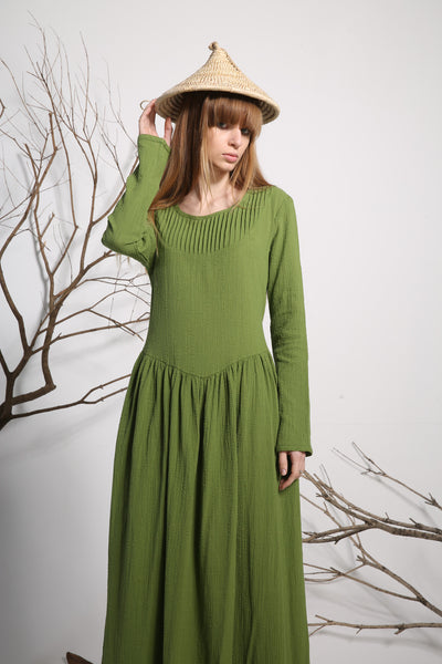 Green linen dress maxi dress long dress women dress (1136)