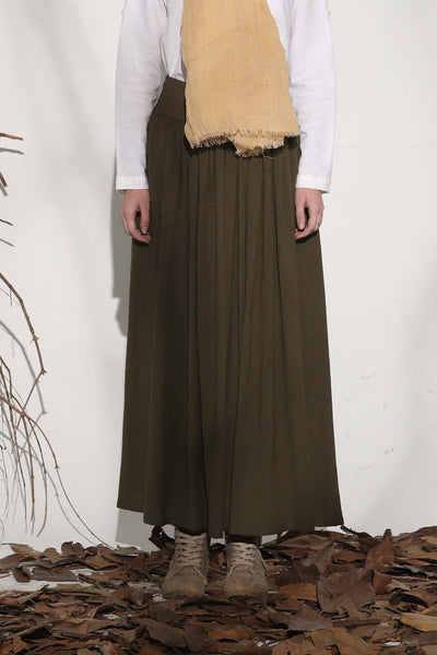 Army green pleated maxi skirt 1151#