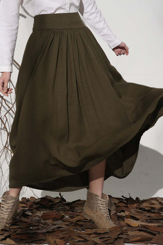 Army green skirt linen skirt maxi skirt long skirt 1151#