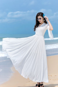 V Neck Maxi Swing Chiffon Wrap Dress 2853