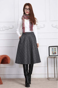 Grey plaid A line skirt for winter J003