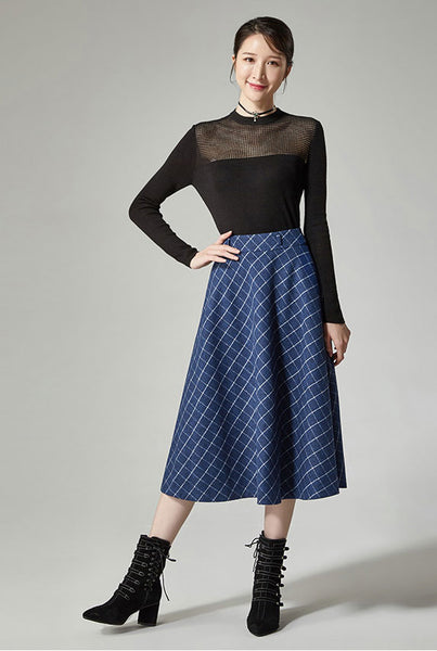 high waisted blue wool skirt for women J115