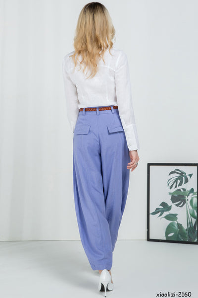 Womens Casual linen slacks 2160#