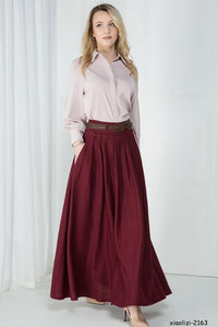 Classic pleated maxi linen Skirt 1046#
