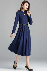 Vintage inspired Modest wool dress 2401#