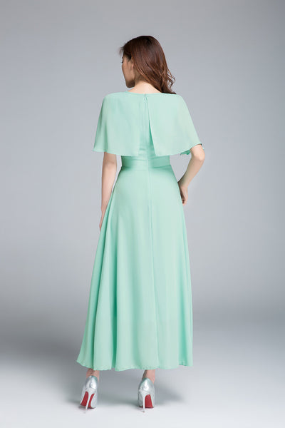 chiffon dress, bridesmaid dress, fitted dress 1768