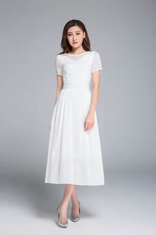 Short sleeve white fit and flare midi dress 1770
