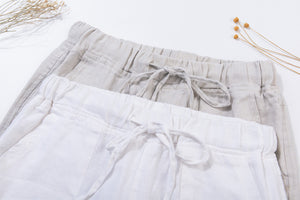 Womens linen baggy pants with drawstring waist 1942