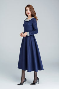 vintage inspired wool maxi dress 1611#