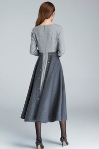 1950s Grey Fit and Flare wool dress 1615#