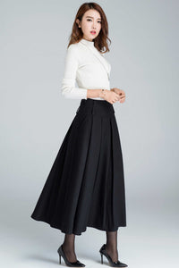 High waisted wool pleated skirt for women in black 1631#