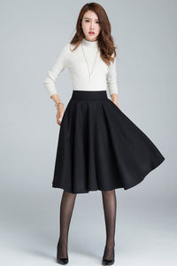 Hight waisted A line wool circle skirt for winter 1633#