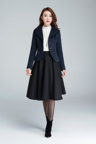 Wool short coat for women with single-breasted and two pocket 1634