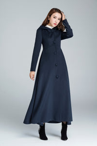 Navy blue maxi wool coat with hood 1637#