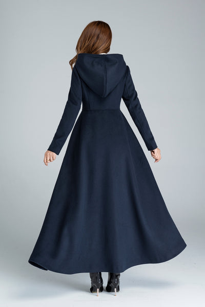 maxi coat, navy blue, wool coat, warm coat, hooded coat 1637#