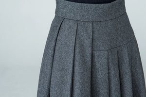 Women's pleated maxi wool skirt in Grey 1587#