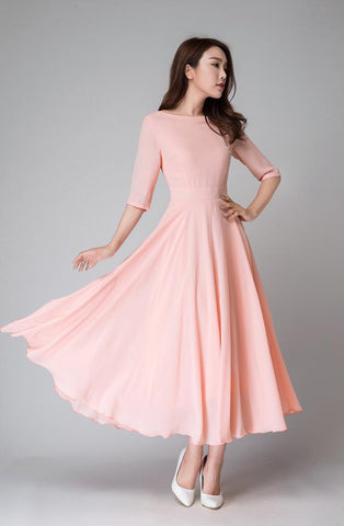 Elbow length Blush fit and flare Midi dress 1524#