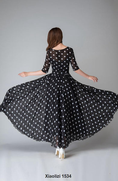 Black and white polka dot dress, illusion prom dress 1534#